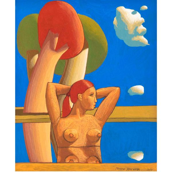 Paesaggio con bagnante (XXII), 2017, cm. 30 x 25, tempera su tavola