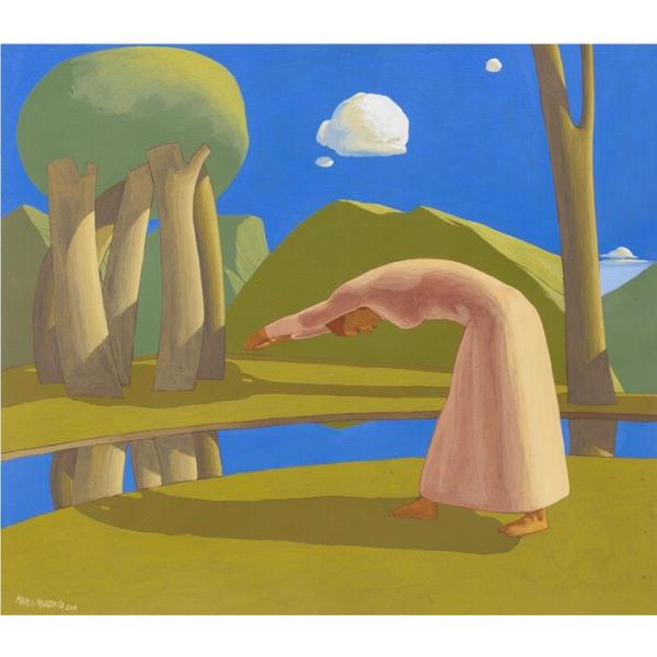 Paesaggio con ragazza che finge di tuffarsi in un fiume (XVII), 2017, cm. 70 x 80, tempera su tavola