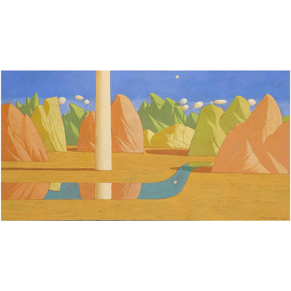 Paesaggio ideale (VI), 2007, cm. 45 x 85, tempera su tavola