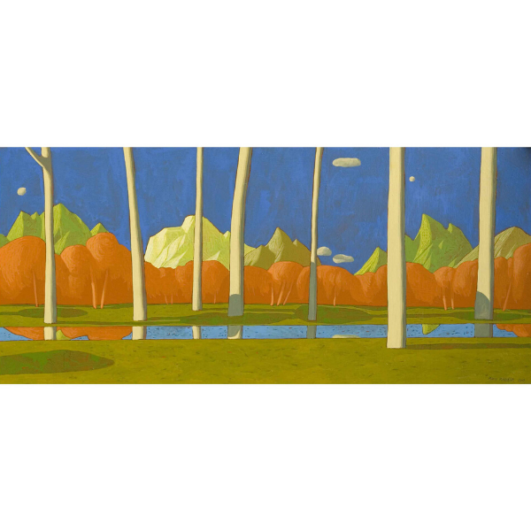 Paesaggio ideale (VIII), 2007, cm. 35 x 80, tempera su tavola