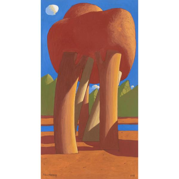 Paesaggio ideale (XXXVI), 2018, cm. 55 x 30, tempera su tavola