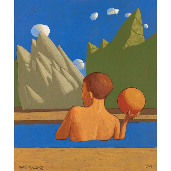 PAESAGGIO CON BAGNANTE (XXIII), 2018, cm. 25 x 30, tempera su tavola