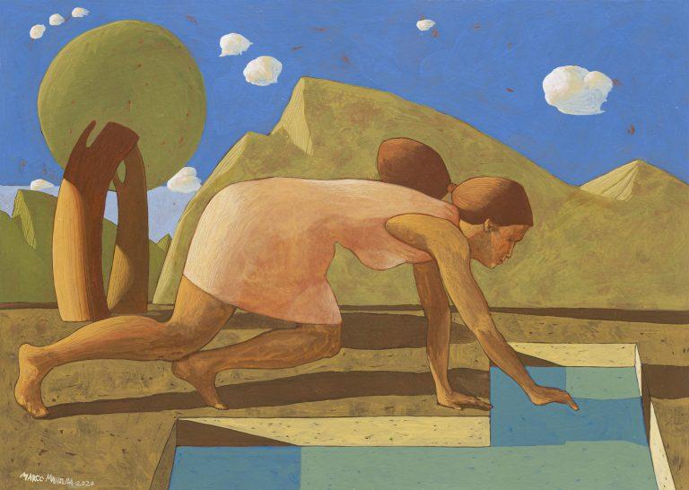 ALLA FONTE, 2020, cm. 50 x 70, tempera su tavola
