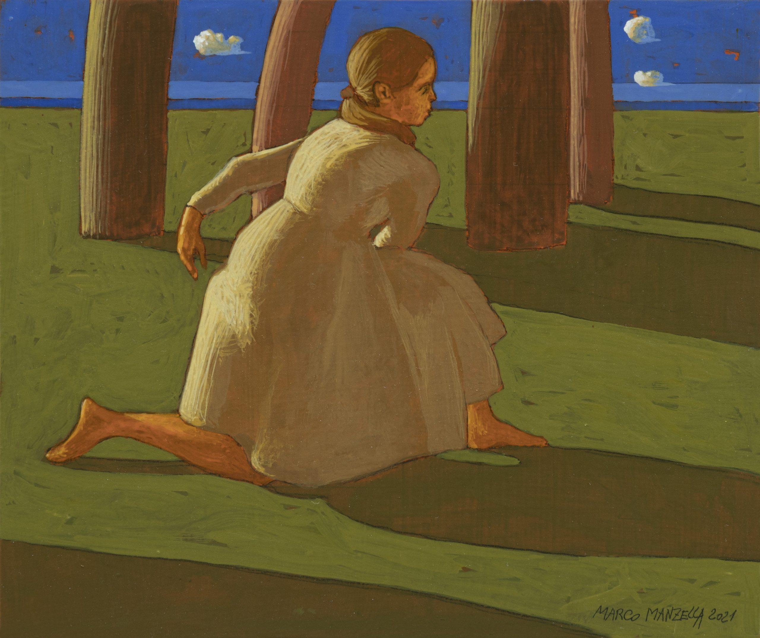 LA GIUSTA STRADA (II),  2021, cm. 25 x 30,  tempera su tavola