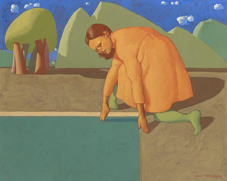 ALLA FONTE (II), 2020, cm 80 x 100,  tempera su tela