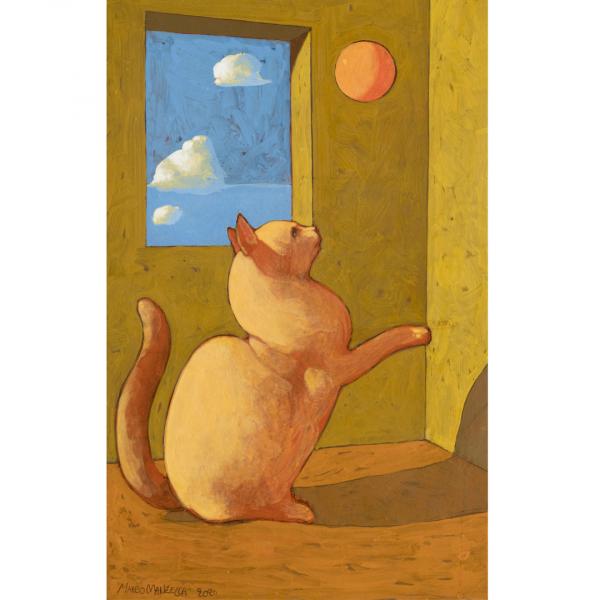 GATTO DA GIOCO, 2020, cm. 40 x 25,  tempera su tavola