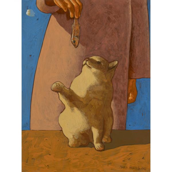 GATTO DA RICOMPENSA,  2021, cm. 40 x 30, tempera su tavola