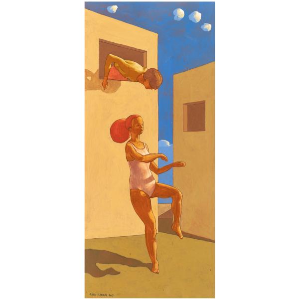 Danza di un giorno, 2019, cm. 70 x 30, tempera su tavola