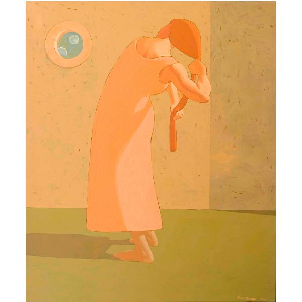 Domatrice di capelli, 2007, cm. 125 x 105, tempera su tavola
