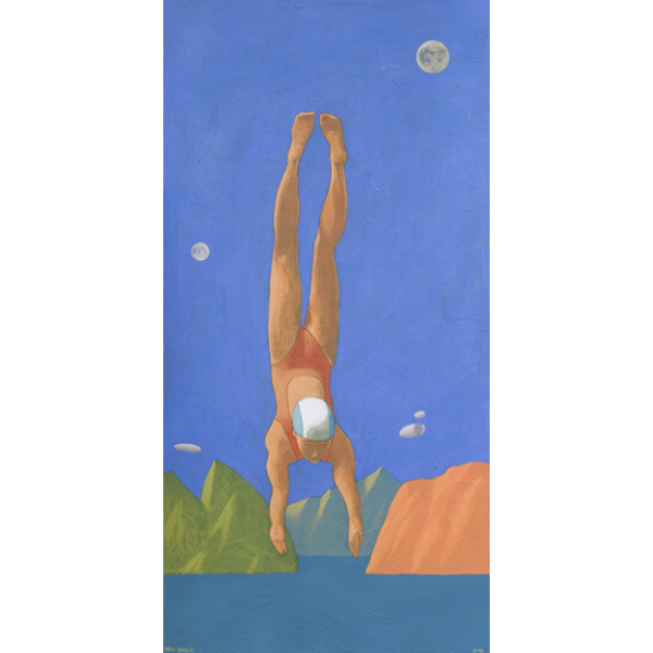 Due lune piene, 2005, cm. 100 x 50, tempera su tavola