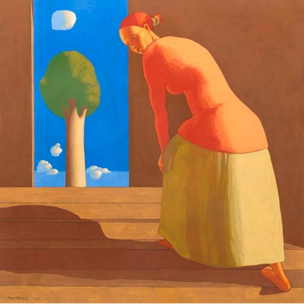 GIORNO DI FESTA, 2018, cm. 90 x 90, tempera su tavola