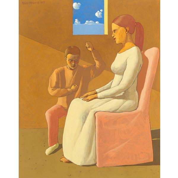 Giuramento, 2019, cm. 100 x 80, tempera su tela