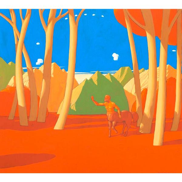Il bosco del centauro (II), 2011, cm. 55 x 60, tempera su tavola
