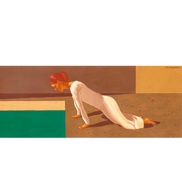LA PRIMA MOSSA (IV), 2019, cm. 20 x 80, tempera su tavola