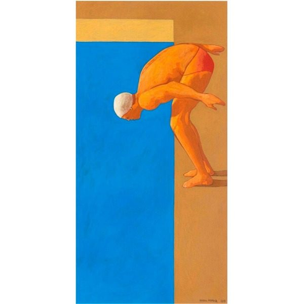Piscina (XXXII), 2017,  cm. 66 x 34, tempera su tavola