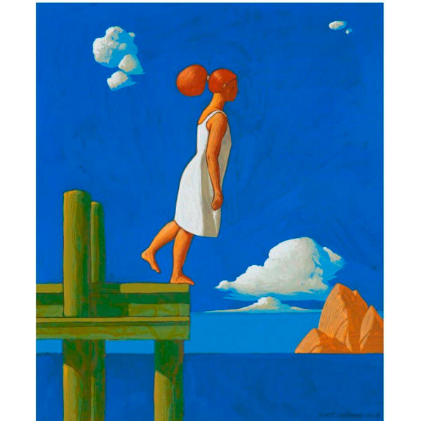 Pontile (XI), 2016, cm. 30 x 25, tempera su tavola