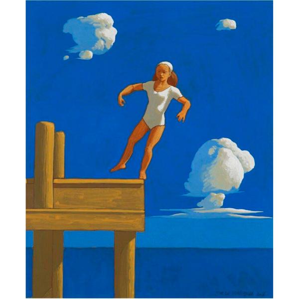 Pontile (XII), 2016, cm. 30 x 25, tempera su tavola