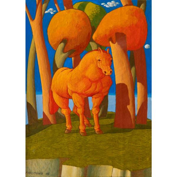 Racconto del Bosco Sacro (IX), 2016, cm. 30 x 25, tempera su tavola