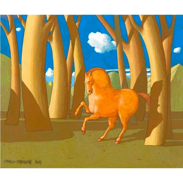 Racconto del Bosco Sacro (VII), 2014, cm. 25 x 30, tempera su tavola