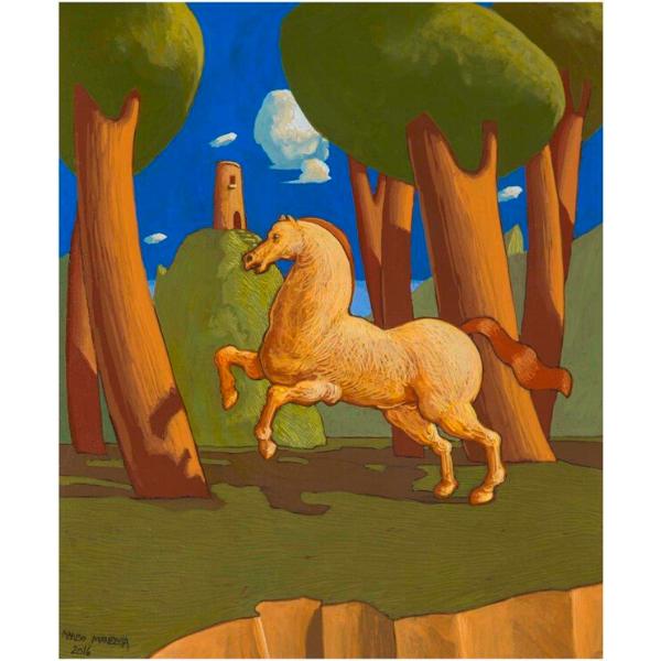 Racconto del Bosco Sacro (X), 2016, cm. 30 x 25, tempera su tavola