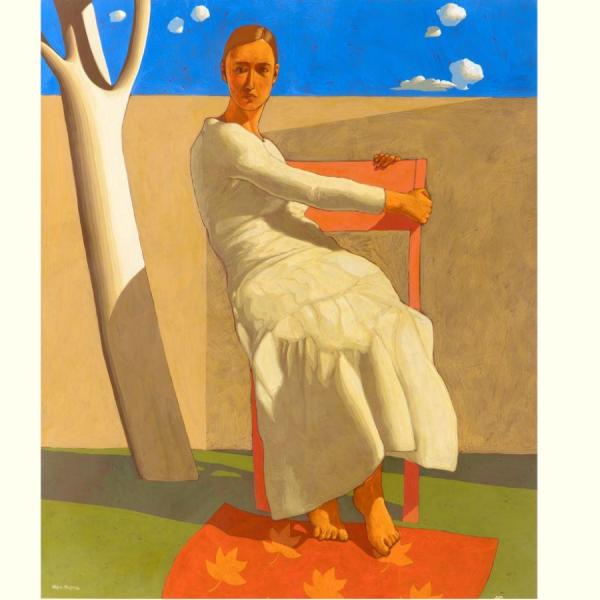 Ritorno di un'immagine (II), 2019, cm. 122 x 64, tempera su tavola