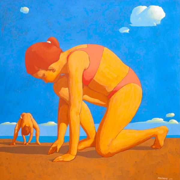 Spiaggia (IX), 2015, cm. 90 x 90, tempera su tavola