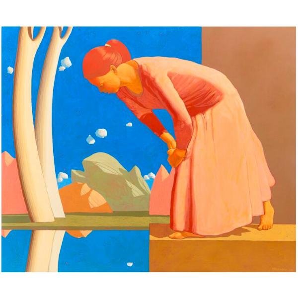 Una donna osservando il riflesso dell'acqua immagina l'esistenza di altri cieli (II), 2015, cm. 100 x 120, tempera su tela