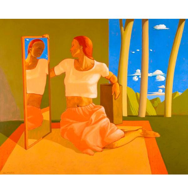 Una donna osservando il riflesso di uno specchio immagina l'esistenza di altri mondi, 2014, cm. 100 x 120, tempera su tela